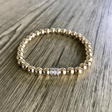 Load image into Gallery viewer, 5MM YELLOW GOLD BEADED BRACELET w/ 14K YELLOW GOLD DIAMOND TRIPLE RONDEL - MICHAEL K. JEWELERS