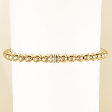 5MM YELLOW GOLD BEADED BRACELET w/ 14K YELLOW GOLD DIAMOND TRIPLE RONDEL - MICHAEL K. JEWELERS