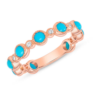 ROSE GOLD AND TURQUOISE ROUND DIAMOND BAND - MICHAEL K. JEWELERS