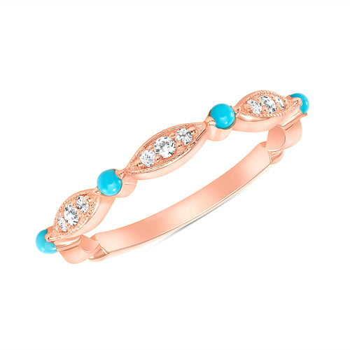 ROSE GOLD AND TURQUOISE DIAMOND BAND - MICHAEL K. JEWELERS