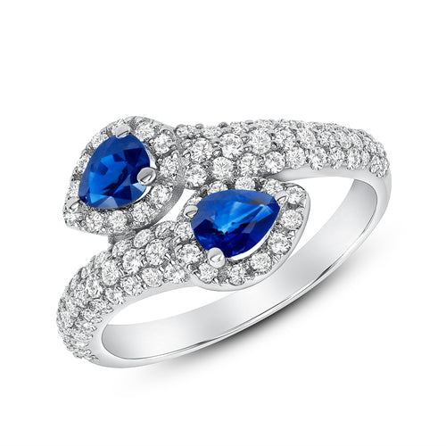 DIAMOND AND PEAR SHAPED BLUE SAPPHIRE RING - MICHAEL K. JEWELERS
