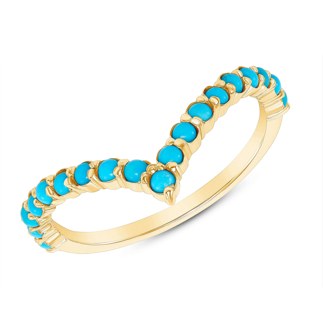 YELLOW GOLD AND TURQUOISE CHEVRON RING - MICHAEL K. JEWELERS