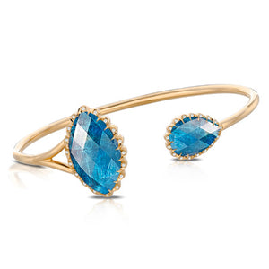 LAGUNA DIAMOND BANGLE WITH CLEAR QUARTZ OVER APATITE - MICHAEL K. JEWELERS