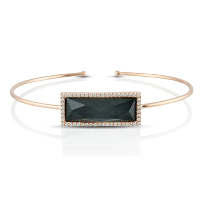 DIAMOND RECTANGLE BANGLE WITH CLEAR QUARTZ OVER HEMATITE - MICHAEL K. JEWELERS