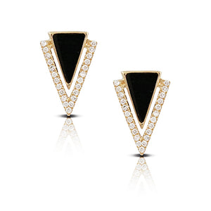 YELLOW GOLD DIAMOND EARRINGS WITH BLACK ONYX - MICHAEL K. JEWELERS