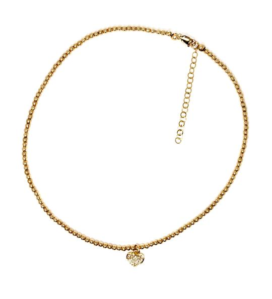 YELLOW GOLD- FILLED BEAD BRACELET WITH CZ HEART CHARM - MICHAEL K. JEWELERS