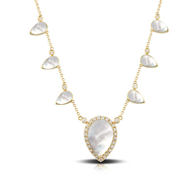 WHITE ORCHID CLEAR QUARTZ OVER MOTHER OF PEARL NECKLACE - MICHAEL K. JEWELERS