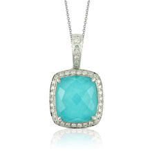 Load image into Gallery viewer, DIAMOND PENDANT WITH CLEAR QUARTZ OVER TURQUOISE - MICHAEL K. JEWELERS