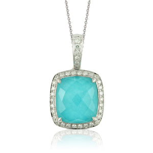 DIAMOND PENDANT WITH CLEAR QUARTZ OVER TURQUOISE - MICHAEL K. JEWELERS