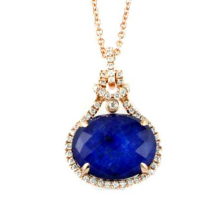 ROSE GOLD DIAMOND PENDANT W/ WHITE TOPAZ OVER LAPIS - MICHAEL K. JEWELERS