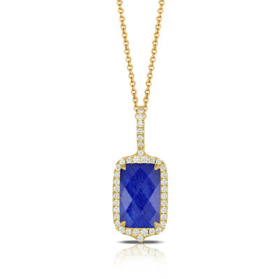 ROYAL LAPIS DIAMOND PENDANT WITH CLEAR QUARTZ/LAPIS - MICHAEL K. JEWELERS
