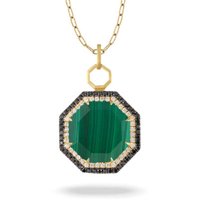 VERDE DIAMOND PENDANT WITH MALACHITE - MICHAEL K. JEWELERS