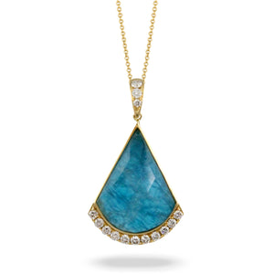 LAGUNA DIAMOND PENDANT WITH CLEAR QUARTZ OVER APATITE - MICHAEL K. JEWELERS
