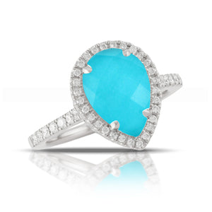 PEAR SHAPED DIAMOND RING WITH WHITE TOPAZ OVER TURQUOISE - MICHAEL K. JEWELERS