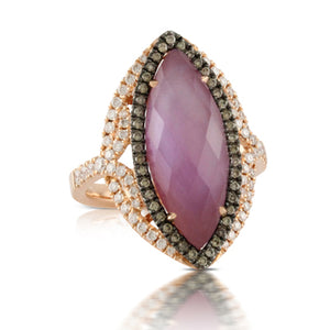 AMETHYST OVER MOTHER OF PEARL BROWN DIAMOND RING - MICHAEL K. JEWELERS