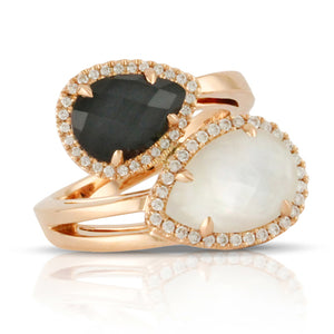 HEMATITE AND WHITE MOTHER PEARL DIAMOND RING - MICHAEL K. JEWELERS