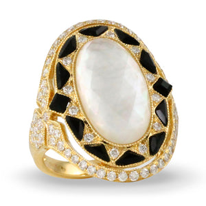 WHITE ORCHID DIAMOND RING WITH MOTHER OF PEARL AND BLACK ONYX - MICHAEL K. JEWELERS