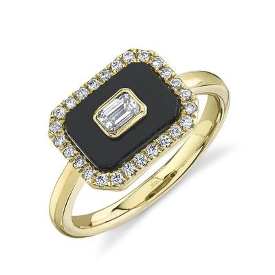 BLACK ONYX WITH BAGUETTE DIAMOND RING
