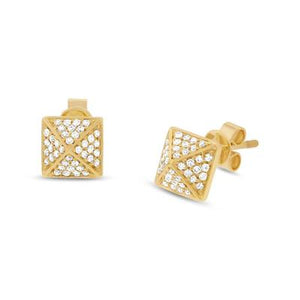PAVE DIAMOND PYRAMID STUD EARRING