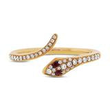 DIAMOND AND RUBY SNAKE RING