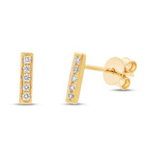 Load image into Gallery viewer, BAR STUD DIAMOND EARRING