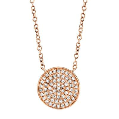 DIAMOND PAVE CIRCLE DISC NECKLACE
