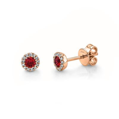 DIAMOND AND RUBY STUD EARRING