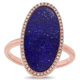 Load image into Gallery viewer, DIAMOND AND LAPIS OVAL RING