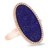 DIAMOND AND LAPIS OVAL RING
