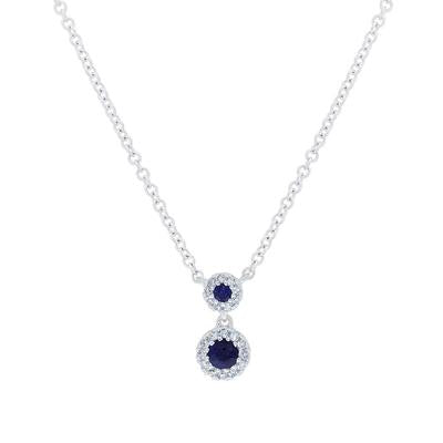 DIAMOND AND BLUE SAPPHIRE HALO NECKLACE