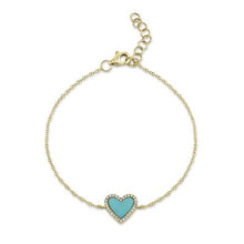 Load image into Gallery viewer, DIAMOND AND TURQUOISE HEART BRACELET