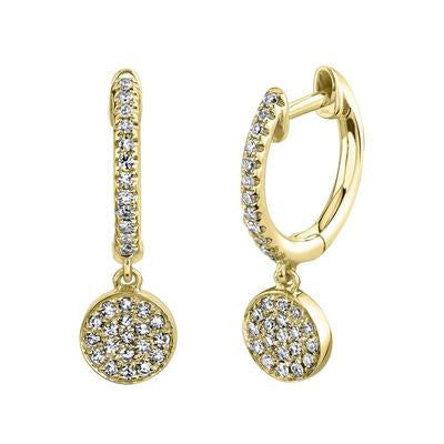 HOOP EARRING WITH CIRCLE PAVE DIAMOND CHARM