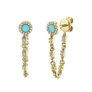TURQUOISE STUD CHAIN EARRING
