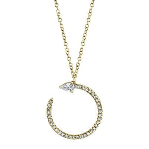 CIRCLE DIAMOND NECKLACE WITH PEAR SHAPED STONE