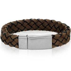 BROWN BRAIDED LEATHER STEEL BRACELET - MICHAEL K. JEWELERS