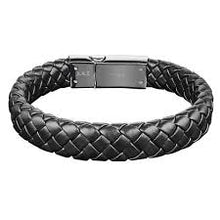 Load image into Gallery viewer, BRAIDED LEATHER STEEL BRACELET - MICHAEL K. JEWELERS