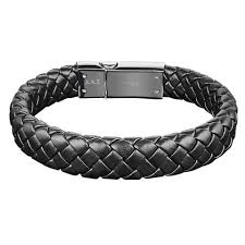 BRAIDED LEATHER STEEL BRACELET - MICHAEL K. JEWELERS