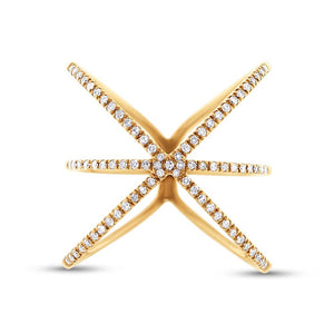 "YELLOW GOLD CAGED ""X"" DIAMOND RING - MICHAEL K. JEWELERS"
