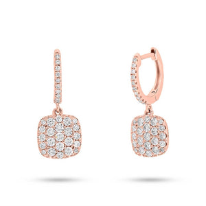 ROSE GOLD DIAMOND SQUARE CUSHION PAVE EARRING - MICHAEL K. JEWELERS