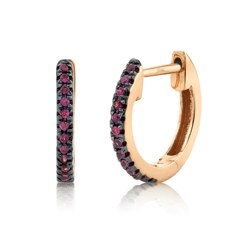 BLACK RHODIUM MINI HOOP RUBY EARRING - MICHAEL K. JEWELERS