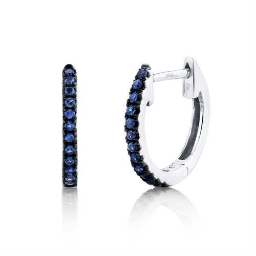 DIAMOND AND BLUE SAPPHIRE HOOP EARRING - MICHAEL K. JEWELERS
