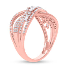 Load image into Gallery viewer, ROSE GOLD DIAMOND AND BAGUETTE BRIDGE RING - MICHAEL K. JEWELERS