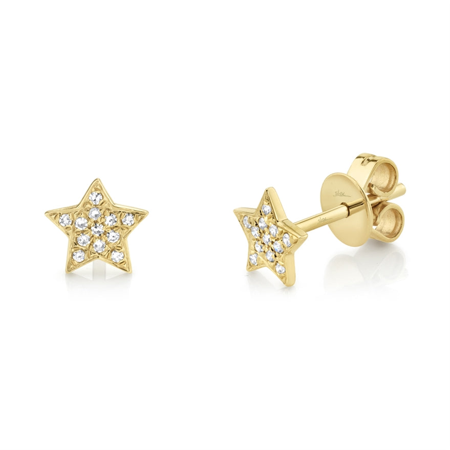 YELLOW GOLD DIAMOND STAR EARRING - MICHAEL K. JEWELERS