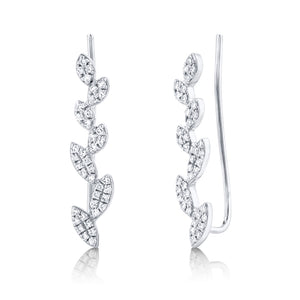 DIAMOND LEAF EAR CRAWLER EARRING - MICHAEL K. JEWELERS