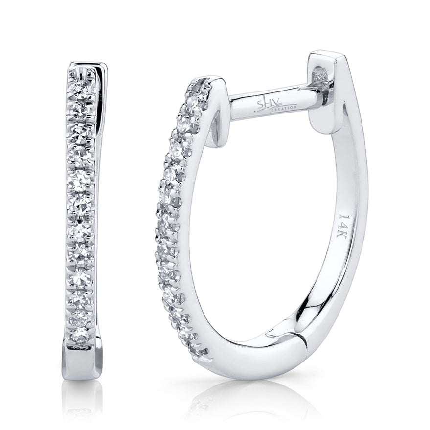 WHITE GOLD DIAMOND HOOP EARRING - MICHAEL K. JEWELERS