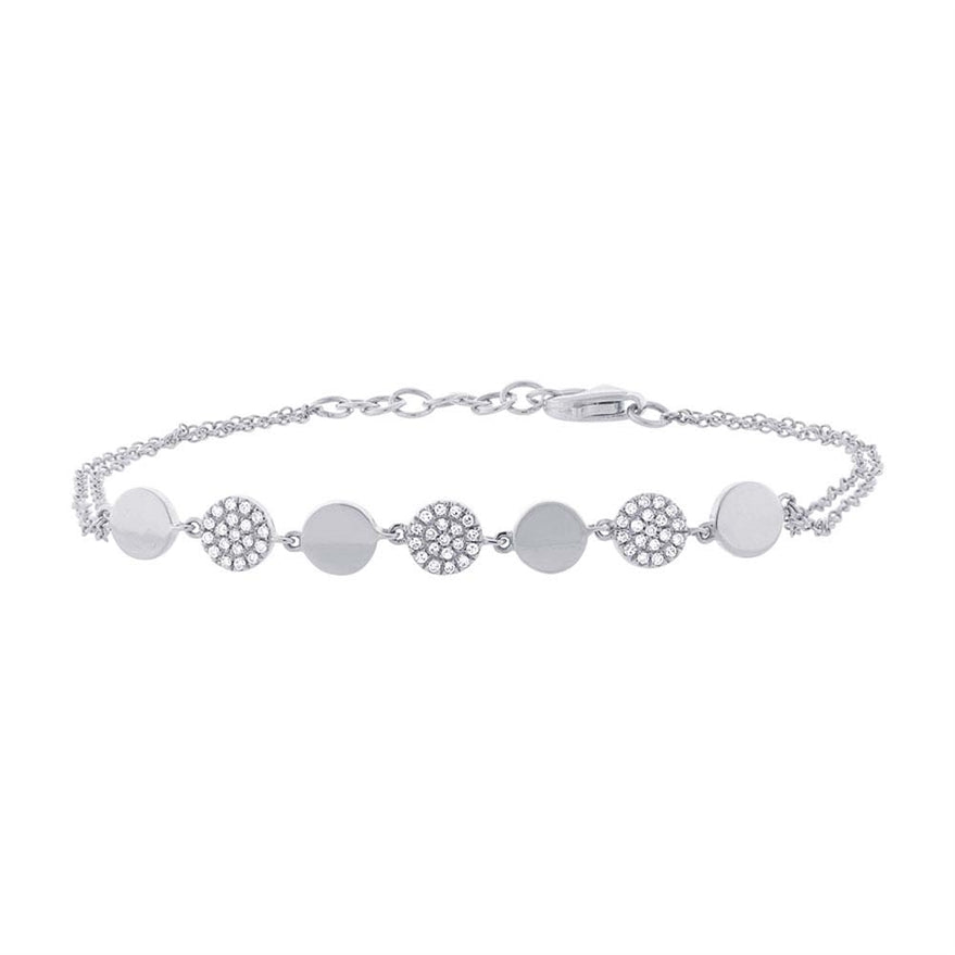 WHITE GOLD DIAMOND PAVE CIRCLE BRACELET - MICHAEL K. JEWELERS