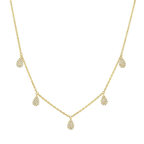 TEARDROP GOLD DIAMOND PAVE NECKLACE - MICHAEL K. JEWELERS
