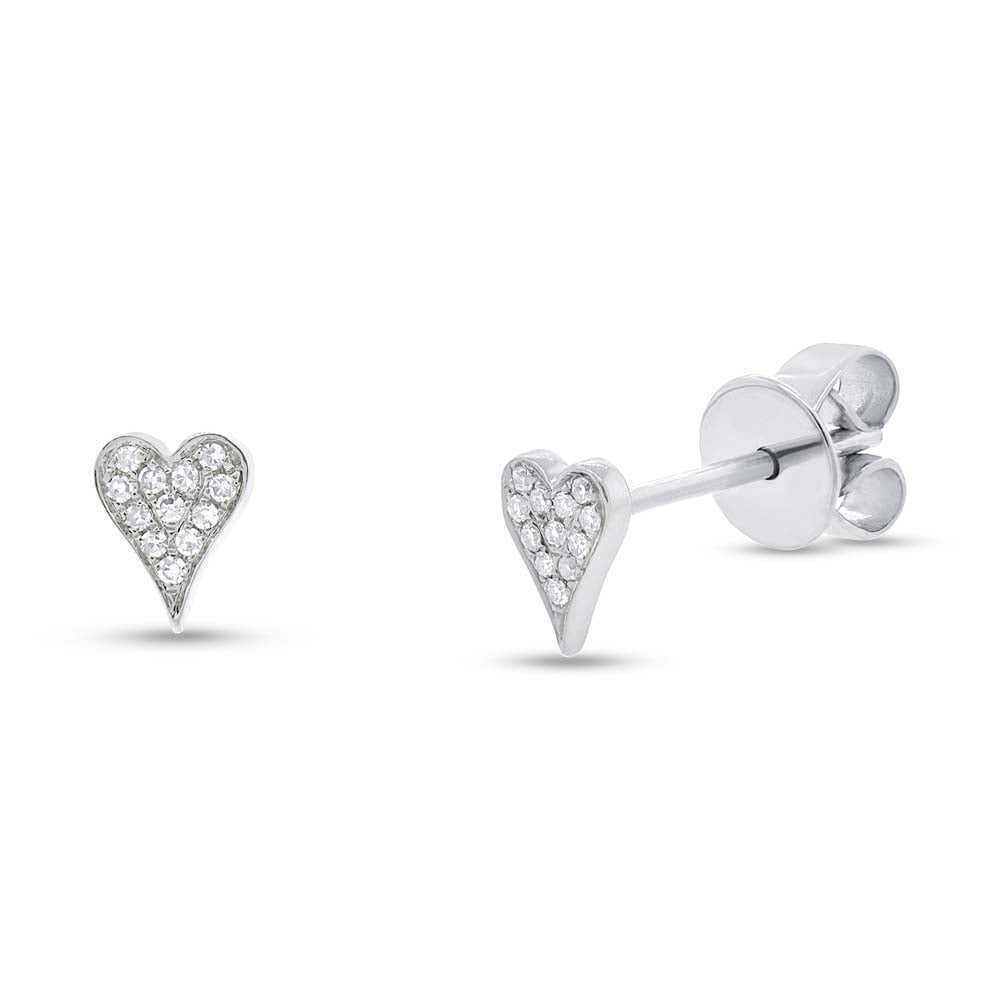 DIAMOND PAVE HEART EARRING - MICHAEL K. JEWELERS