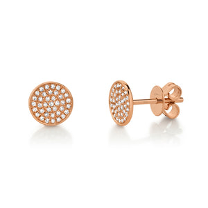 ROSE GOLD DIAMOND PAVE STUD EARRING - MICHAEL K. JEWELERS