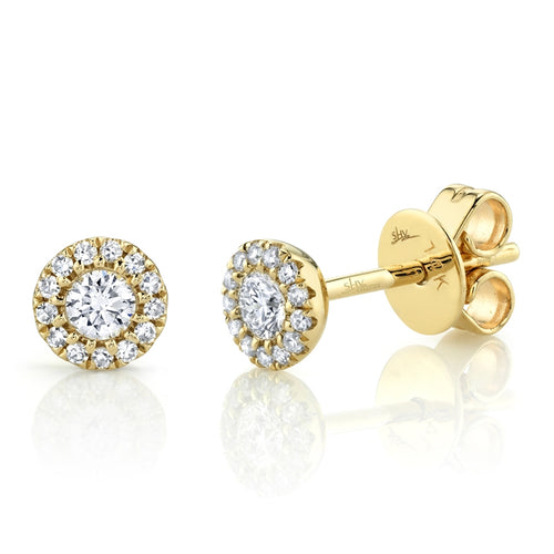 YELLOW GOLD HALO DIAMOND STUD EARRING - MICHAEL K. JEWELERS